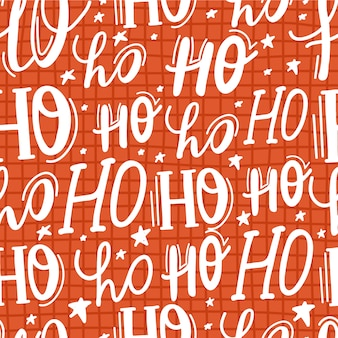 Ho ho ho lettering seamless pattern, babbo natale ridere.