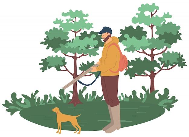 Hobby a caccia di animali, uomo con arma vettoriale