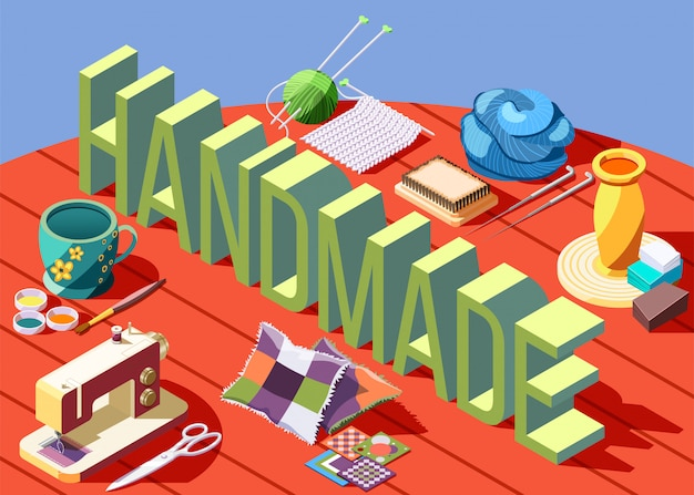 Hobby artigianato composizione isometrica con vari strumenti per la creazione di oggetti fatti a mano 3d