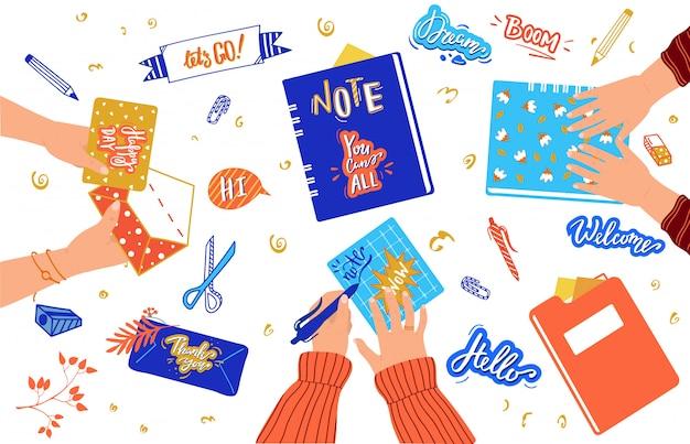 Hobby creativo di scrapbooking, adesivi fatti a mano e cancelleria, mani della gente, illustrazione