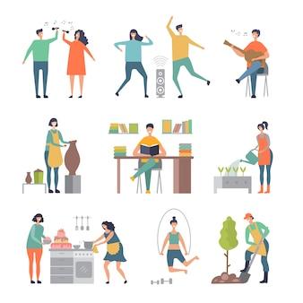Hobby della gente. scrittori pittori personaggi maschili e femminili che realizzano illustrazioni di scultura e giardinaggio
