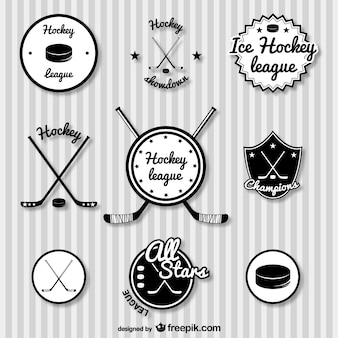 Hockey retrò badge set
