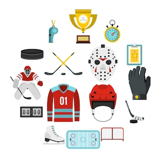 Hockey set icone piatte
