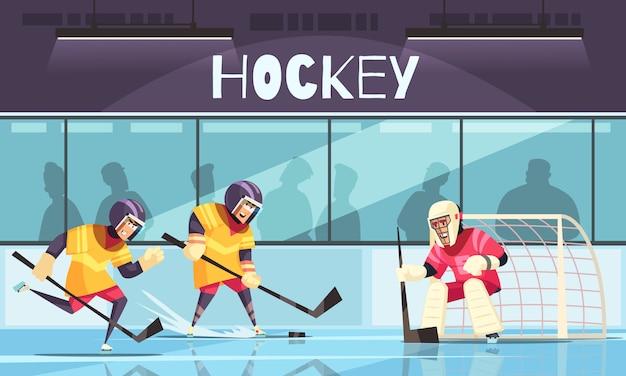 Hockey su ghiaccio con simboli di sport invernali piatti