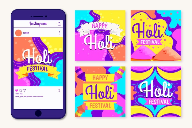 Holi festival concept per instagram post collection