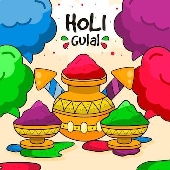 Holi gulal colorato disegnato a mano