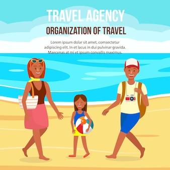 Holidays on sea resort poster piatto con copyspace.