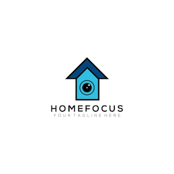 Home focus fotografia vector design logo