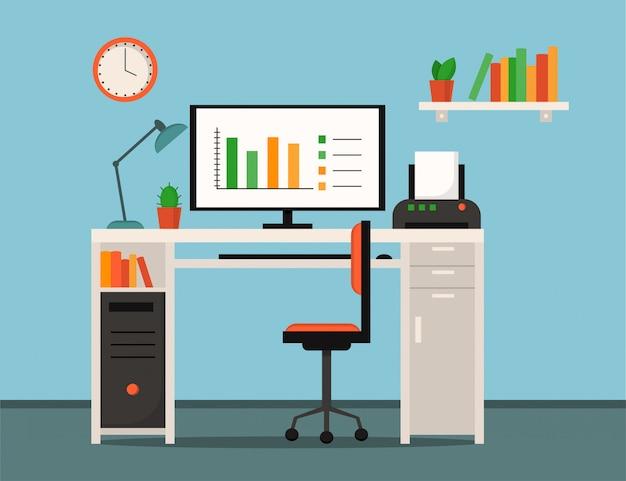 Home office, freelance, posto di lavoro interno casa - tavolo, computer, stampante, lampada, libri, orologi, piante e sedia da ufficio. stile piatto