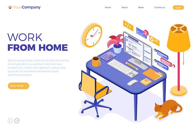 Home office lavora da casa. modello di pagina di destinazione