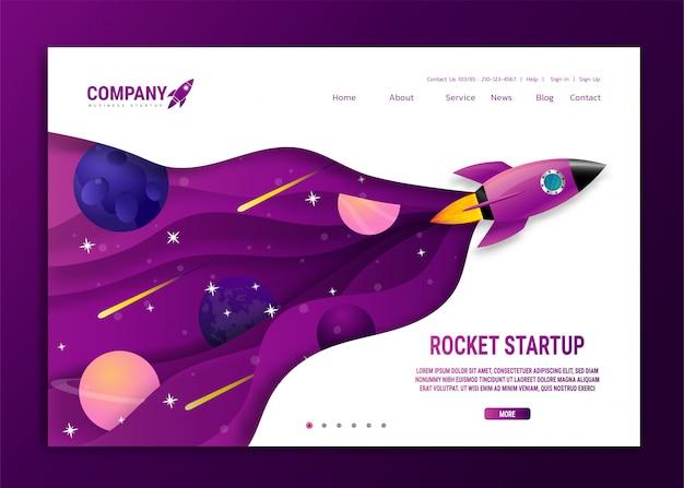 Home page di atterraggio del sito web con razzo. avvio e sviluppo di progetti aziendali