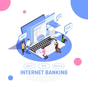 Home page di attività bancarie di internet isometrica con la composizione del trasferimento di denaro di pagamento online del bottone di accesso