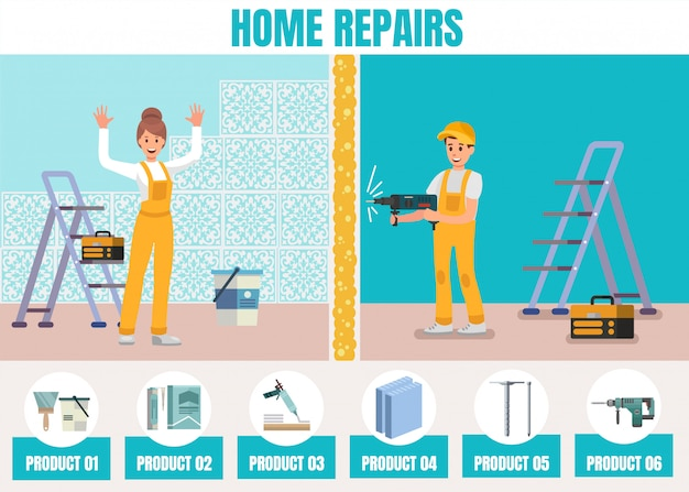 Home repair online service promotion flat