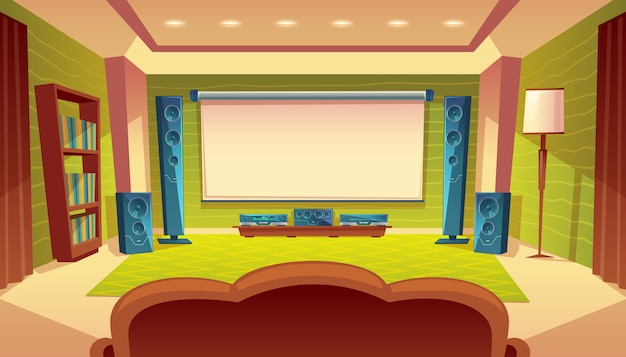 Home theater a fumetti con proiettore, impianto audio video all'interno della sala.