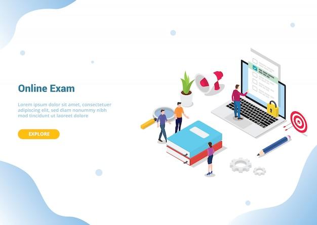 Homepage di atterraggio del modello di sito web. esame online o concetto di corso