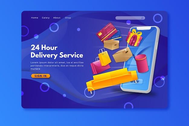Homepage online dello shopping in stile realistico