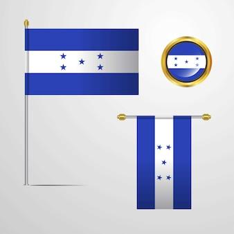 Honduras sventolando la bandiera design con distintivo vettoriale