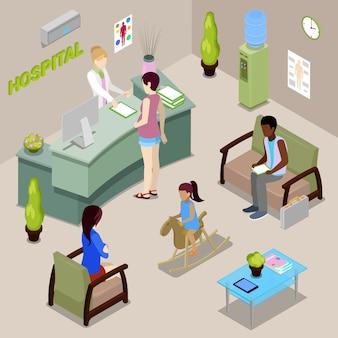 Hospital hall interior con infermiere e pazienti. donna iscriviti alla reception. persone isometriche.