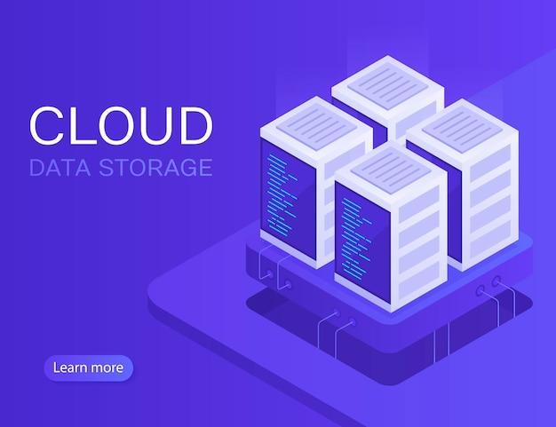 Hosting con archiviazione dati cloud e sala server. rack server. illustrazione moderna in stile isometrico