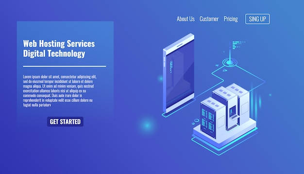 Hosting di siti web e applicazioni web, rack di server room, scambio di dati, traffico di file