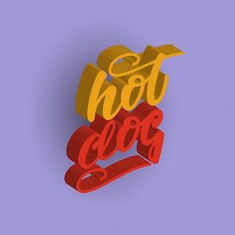Hot dog 3d lettering design. illustrazione vettoriale