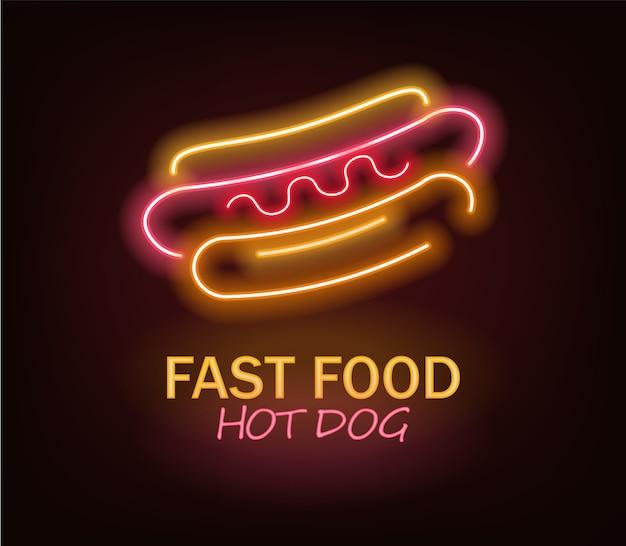 Hot dog al neon, fast food al neon, delizioso hot dog, luce al neon