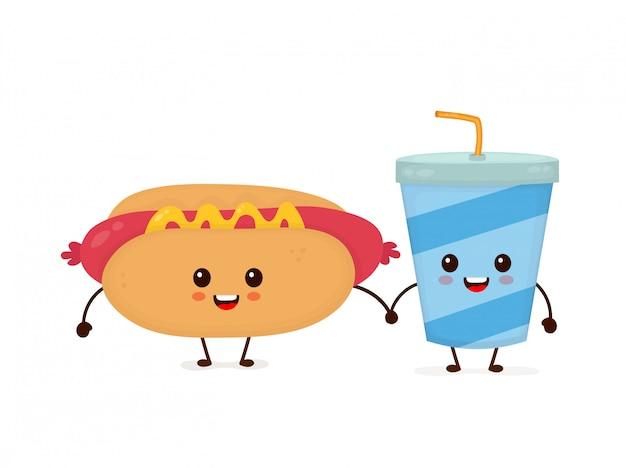 Hot dog e tazza di soda felici sorridenti divertenti svegli. icona illustrazione piatto personaggio dei cartoni animati. isolato su bianco. fast food, menu per bambini caffetteria, hot dog e tazza di soda