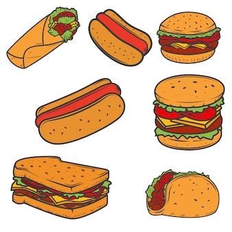Hot dog, hamburger, taco, sandwich, burrito. insieme delle icone degli alimenti a rapida preparazione su fondo bianco. elementi per logo, etichetta, emblema, segno, marchio.