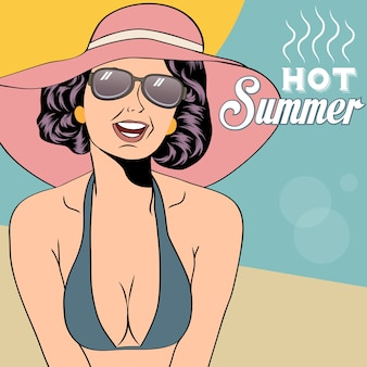 Hot pop arte ragazza su una spiaggia