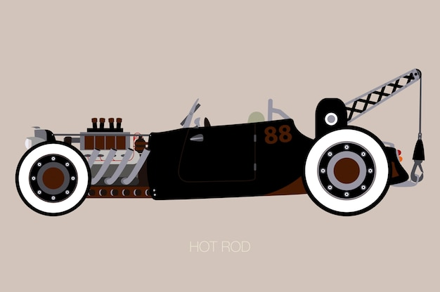 Hot rod tow truck, side view of car, automobile, veicolo a motore