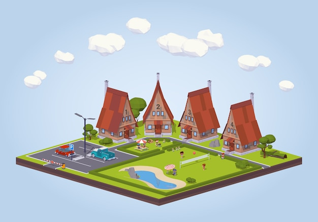 Hotel isometrico lowpoly 3d con le cabine di legno e l'area ricreativa