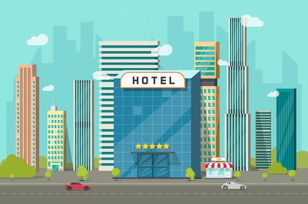 Hotel nell'illustrazione di vettore di vista del paesaggio delle costruzioni della città in fumetto piano