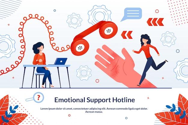 Hotline di supporto emotivo per poster informativo.