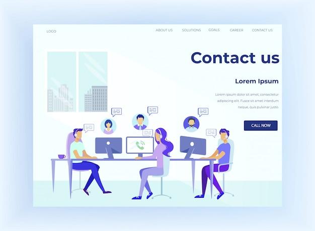 Hotline pagina di destinazione piatta con supporto online