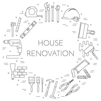 House rimodella banner orizzontale. elemento per la casa di riparazione, costruzione o ristrutturazione aziendale.