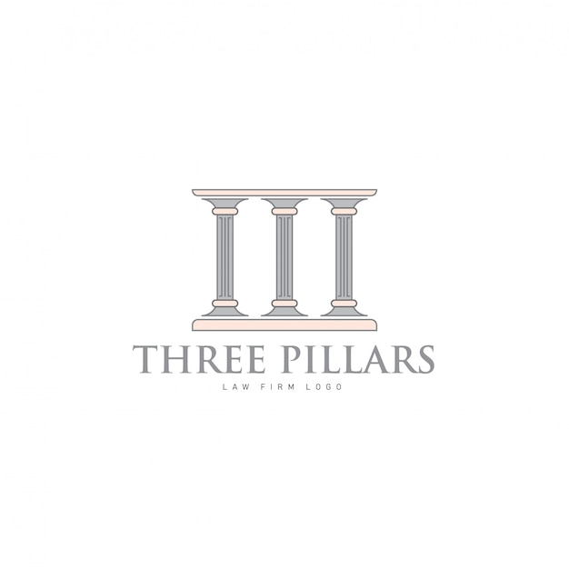 Hree pillars with greek roman pillar style logo design per lawfirm and justice company