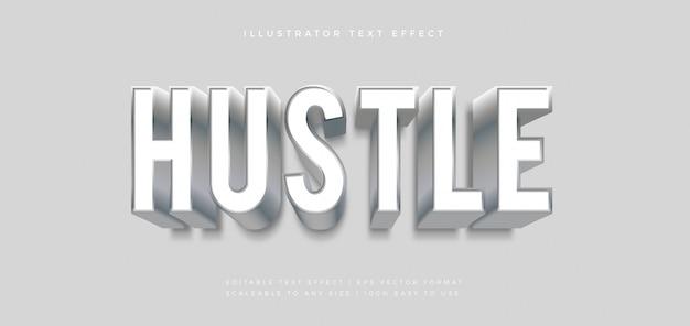 Hustle effetto carattere stile testo bianco argento