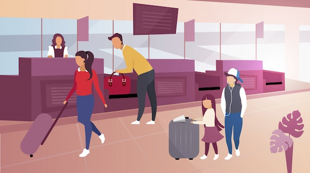I bagagli controllano l'illustrazione piana dell'aeroporto. turisti del fumetto che trasportano valigie. passeggero maschio, borsa per la presentazione del viaggiatore per il controllo di doganiere. padre prendendo i bagagli dal nastro trasportatore