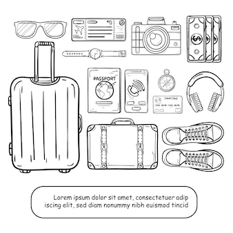 I bagagli e gli accessori di tiraggio della mano di scarabocchio viaggiano intorno all'estate di concetto del mondo.