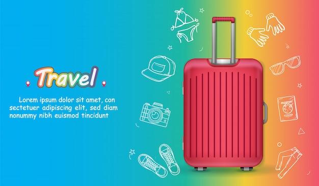 I bagagli e gli accessori di tiraggio della mano di scarabocchio viaggiano intorno all'insegna dell'estate di concetto del mondo.
