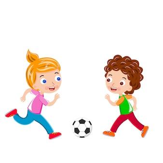 I bambini calciano il pallone da calcio vettoriale