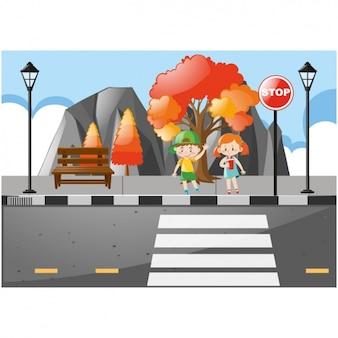 I bambini che attraversano la strada
