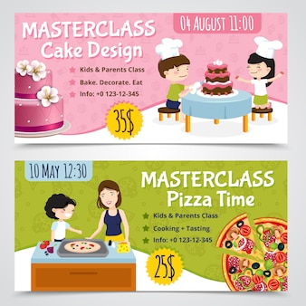 I bambini che cucinano le insegne orizzontali un insieme di una manifestazione di due cartoni animati bollono la pizza e agglutinano con l'illustrazione editabile di vettore del testo