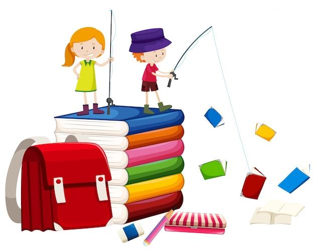 I bambini che pescano i libri