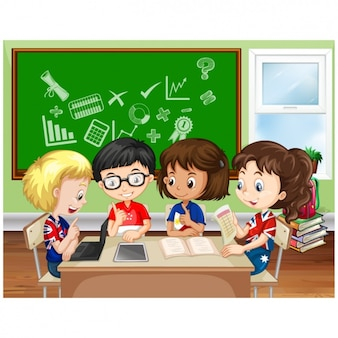 I bambini che studiano a scuola