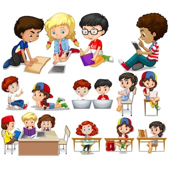 I bambini che studiano i disegni