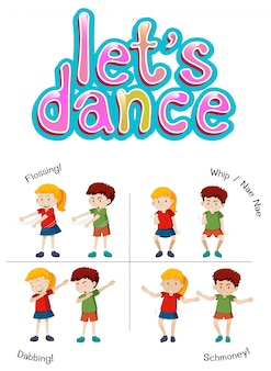 I bambini con movimenti di danza diversi