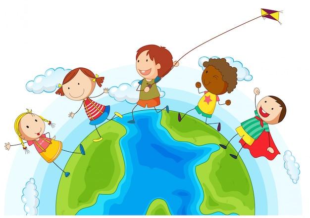 I bambini corrono in giro per il mondo