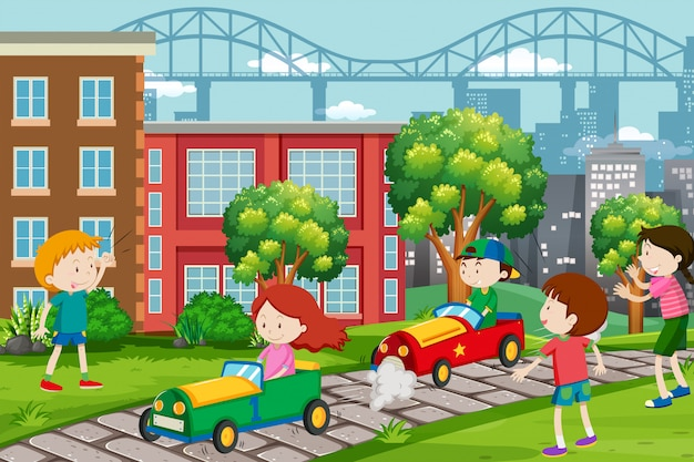 I bambini corrono su go-kart