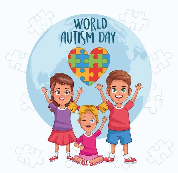 I bambini del giorno di autismo mondiale con l'illustrazione di vettore di puzzle del pianeta e del cuore del mondo progettano